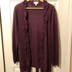 LOFT Plum duster with ruffle detail